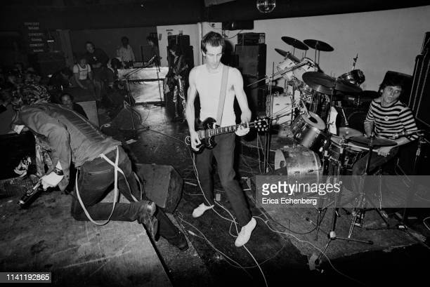 Punk band The Adverts perform on stage at The Sundown Charing Cross London August 17th 1977 LR TV Smith Gaye Advert Howard Pickup and Laurie Driver...