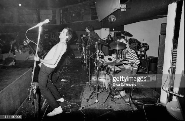 Punk band The Adverts perform on stage at The Sundown Charing Cross London August 17th 1977 LR Howard Pickup TV Smith Gaye Advert Laurie Driver They...