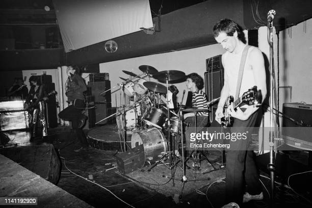 Punk band The Adverts perform on stage at The Sundown Charing Cross London August 17th 1977 LR Gaye Advert TV Smith Laurie Driver Howard Pickup They...