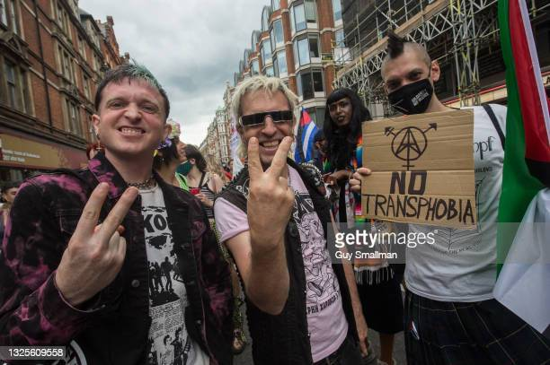 Punk band The Restarts react to the camera as thousands attend the third Trans Pride march on June 26, 2021 in London, England.