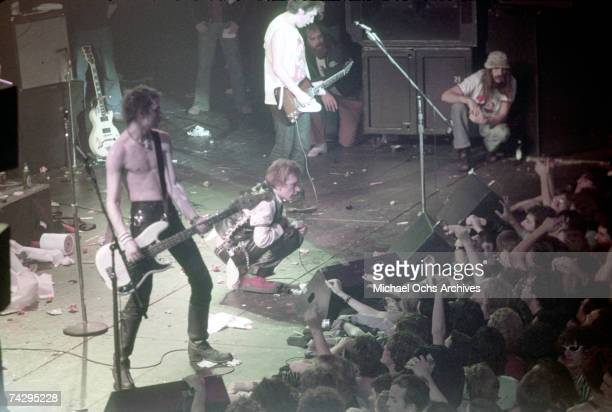 Punk band 'The Sex Pistols' perform their last concert in Winterland on January 14 1978 in San Francisco CA Sid Vicious Paul Cook Johnny Rotten Steve...