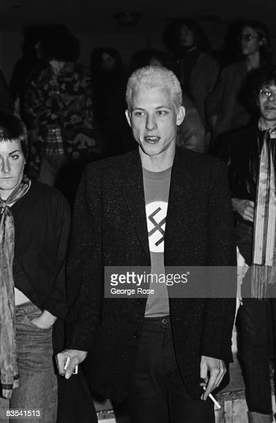 A punk fan wearing a Nazi swastika tshirt prior to The Sex Pistols performance is seen in this 1978 San Francisco California photo taken at the...