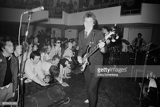 Punk fans crowd the front of the stage to watch The Jam perform at the Royal College of Art London 29th April 1977