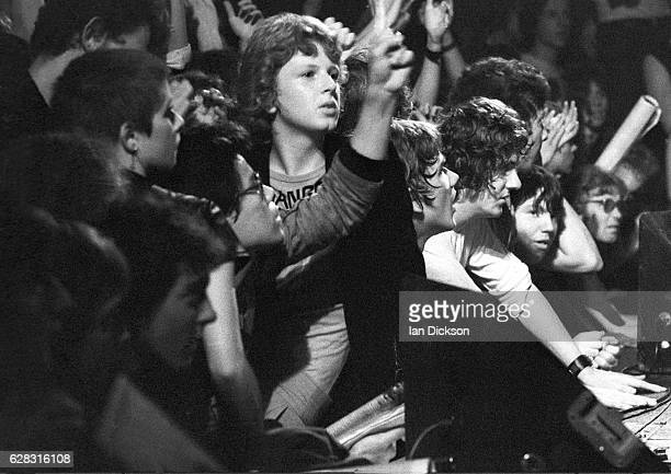 Punk fans crowded up against the front of the stage at Runaways gig at the Roundhouse Chalk Farm London 1976