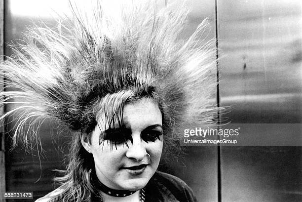 A punk girl with a mohican Kings Rd London UK 1970's