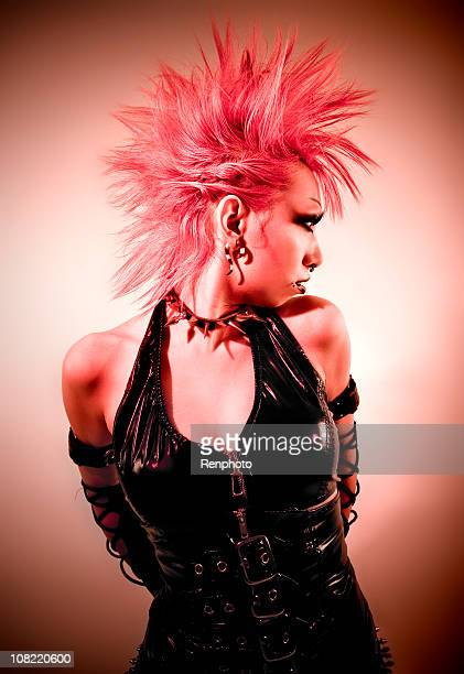 punk gothic - mohawk stock pictures, royalty-free photos & images