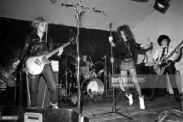 Punk group The Slits performing at the Electric Circus Manchester 8th May 1977 Left to right guitarist Viv Albertine drummer Palmolive singer Ari Up...
