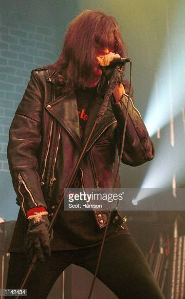 Punk icon Joey Ramone of the Ramones sings live on stage in 1996 in Las Vegas.