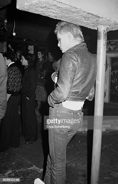Punk in the audience watching a gig at the Hope and Anchor Islington London 1976