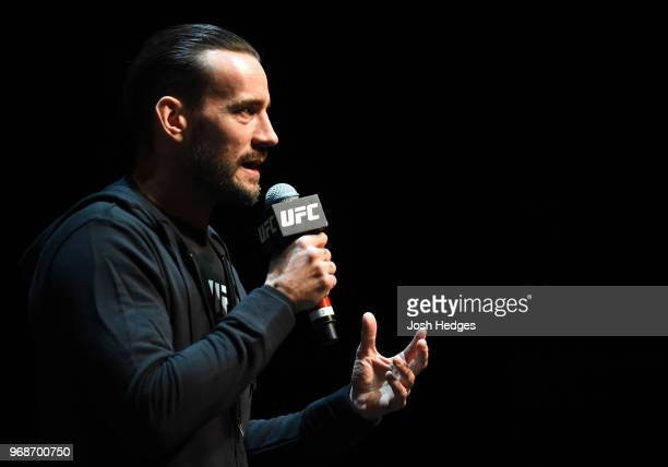Punk interacts with fans during the UFC 225 Open Workouts at the Chicago Theatre on June 6 2018 in Chicago Illinois