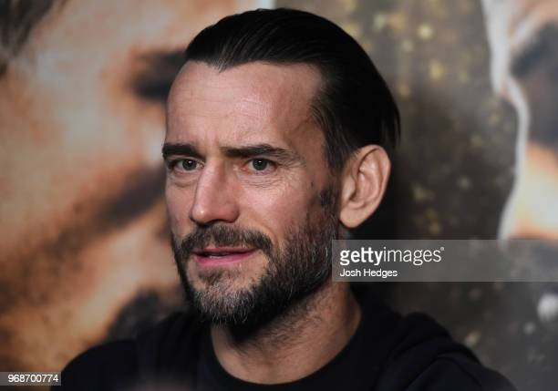 Punk interacts with media during the UFC 225 Open Workouts at the Chicago Theatre on June 6 2018 in Chicago Illinois