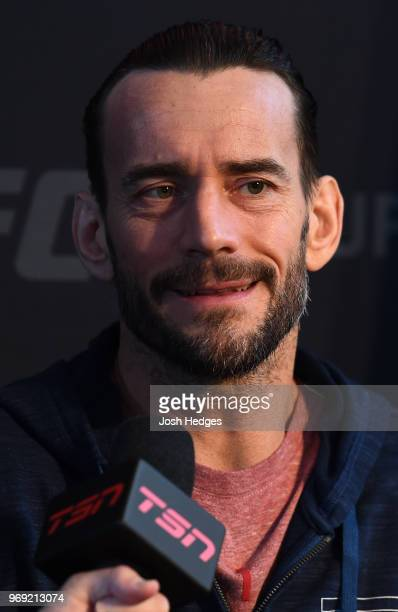 Punk interacts with media during the UFC 225 Ultimate Media Day at the United Center on June 7 2018 in Chicago Illinois