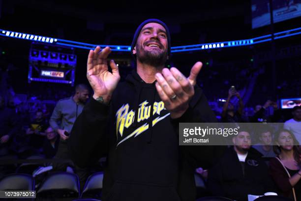 Punk is seen in attendance during the UFC Fight Night event at Fiserv Forum on December 15 2018 in Milwaukee Wisconsin