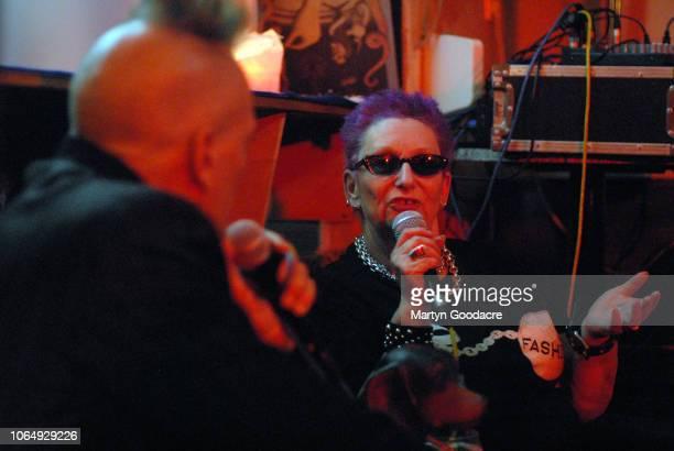Punk model Jordan in conversation with English music journalist John Robb in Berlin Germany 3rd November 2018
