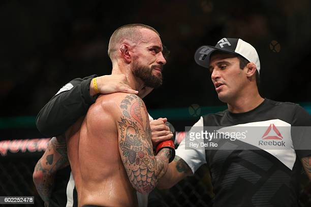 Punk reacts to his loss to Mickey Gall during the UFC 203 event at Quicken Loans Arena on September 10 2016 in Cleveland Ohio
