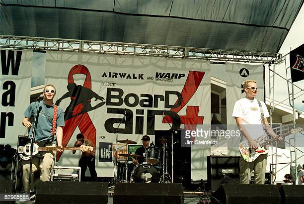 Punk Rock band Blink 182 perform at the Board Aid Benefit in Big Bear California on March 15 1997