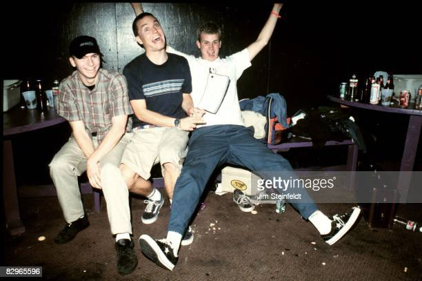 Punk Rock band Blink 182 pose for a portrait in their dressing room at the Whisky A Go Go in Los Angeles, California on October 8, 1996.