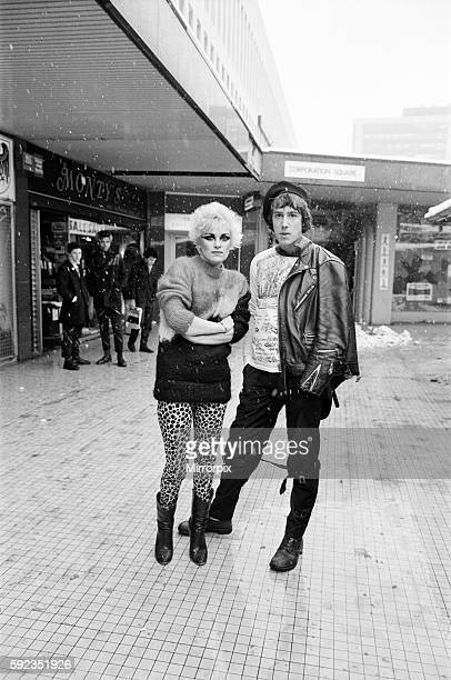 Punk Rock fashions in Birmingham A young woman and man standing outside in a shopping precinct 23rd January 1979