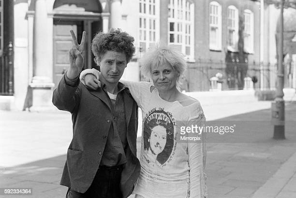 Punk rock group Sex Pistols manager Malcolm McLaren and friend designer Viviane Westwood seen here outside Bow Street Magistrate Court after being...