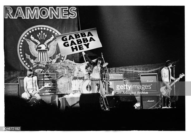 Punk rock group The Ramones at the infamous concert they opened for Black Sabbath and Van Halen at The Omni November 13 1978 in Atlanta Georgia