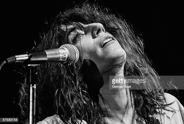 Punk rock poet laureate Patti Smith performs songs from her Easter album during a 1979 concert at the Palladium in Hollywood California