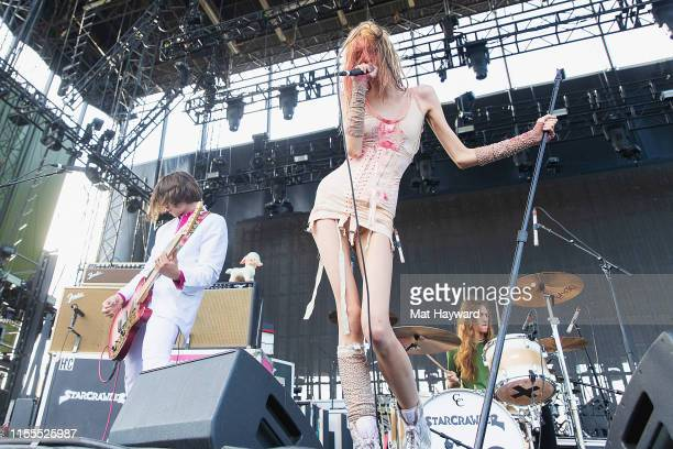 Punk rock singer Arrow De Wilde of Starcrawler performs on stage during the 'Night Running' tour at the Gorge Amphitheatre on July 13 2019 in George...