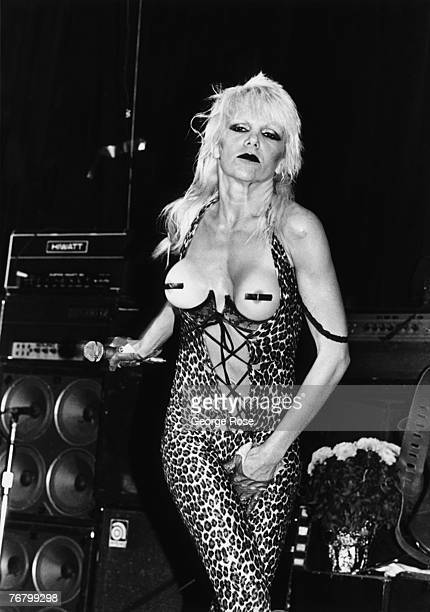 Punk rock singer Wendy O Williams lead singer of the Plasmatics performs at a 1980 West Hollywood California concert at the Whiskey a Go Go