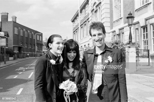 Punk rock wedding at Acton Town Hall of The Damned frontman Dave Vanian and Laurie Glendon, 20. After the wedding they are going to Hastings for a...