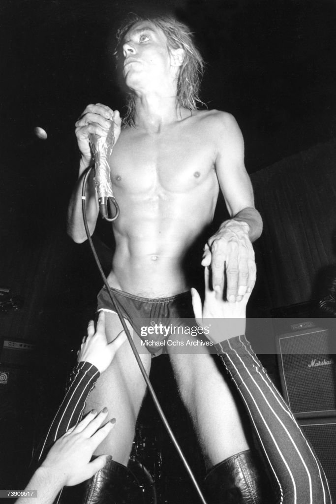 Punk rocker Iggy Pop performs onstage at the Whisky A Go Go on October 30, 1973 in Los Angeles, California.
