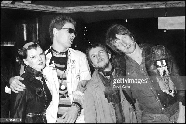 Punk rockers Soo Catwoman, Captain Sensible, Wreckless Eric and Rat Scabies at Hammersmith Palais, on December 19 1976, London, UK