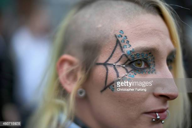 A punk shows of her eye make up and piercings as she attends the Nice N Sleazy punk music festival at the Trimpell Social Club on May 24 2014 in...