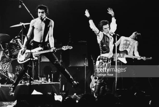 Punk singer Johnny Rotten and bassist Sid Vicious of legendary The Sex Pistols perform onstage during the band's last 1978 public appearance at the...
