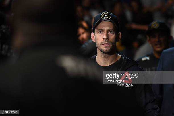 Punk walks towards the Octagon prior to facing Mike Jackson in their welterweight fight during the UFC 225 event at the United Center on June 9 2018...
