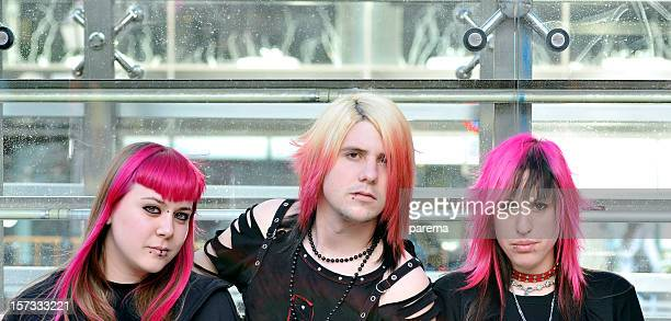 punk,goth and youth culture - emo stock photos and pictures
