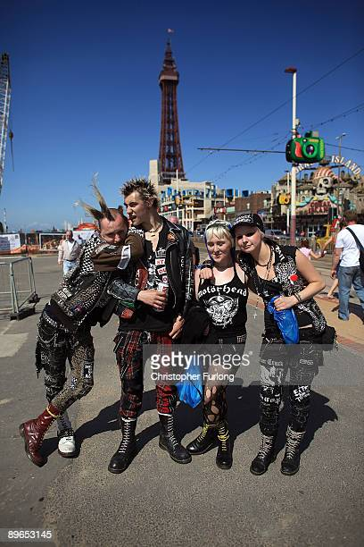 Punks play up to the camera as rebels from across the world arrive for the Rebellion Festival on August 7 2009 in Blackpool England Thousands of...
