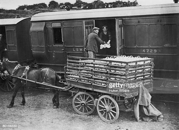 Punnets of strawberries are loaded onto a London and South Western Railway train circa 1935