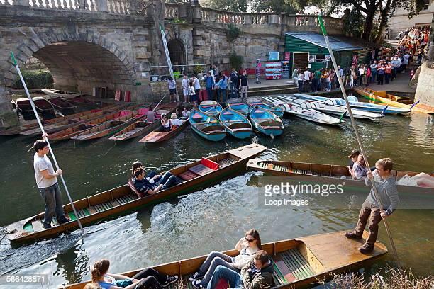 Punt jam by Magdalen Bridge in Oxford in springtime
