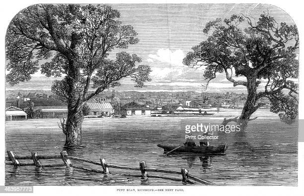 Punt Road Richmond Floods at Melbourne Australia 1864 A print from The Illustrated London News