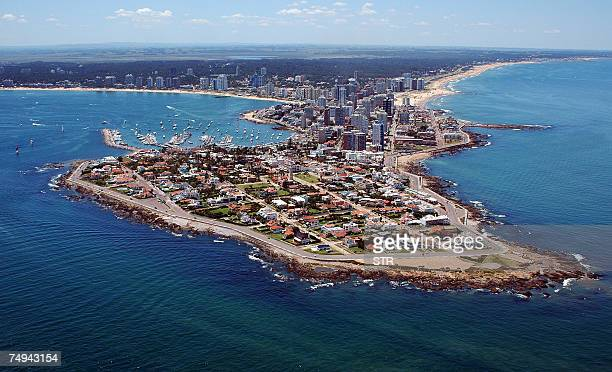 Punta del Este, URUGUAY: This 2006 aerial photograph shows Punta del Este, one of the most important resorts in Latin America, with its River Plate...