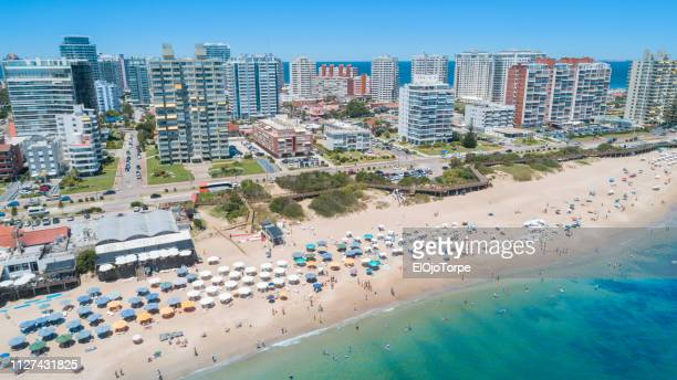 punta del este's beach, aerial view, drone point of view, sand and ocean, uruguay - maldonado uruguay stock pictures, royalty-free photos & images