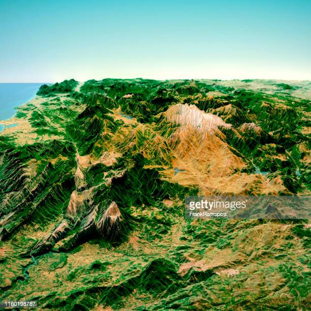 punta la marmora sardinia italy 3d render horizon aerial view from north feb 2019 - frank ramspott stock pictures, royalty-free photos & images
