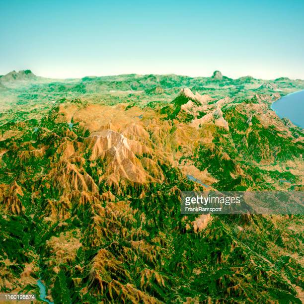 punta la marmora sardinia italy 3d render horizon aerial view from south feb 2019 - frank ramspott stock pictures, royalty-free photos & images
