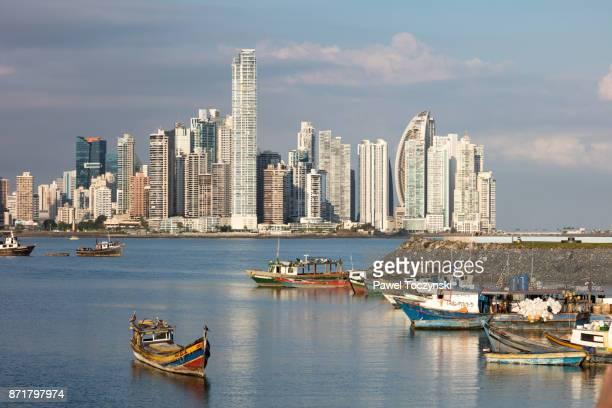 punta paitilla skyline, the city's prime real estate district, in panama city seen from casco viejo - panama fotografías e imágenes de stock