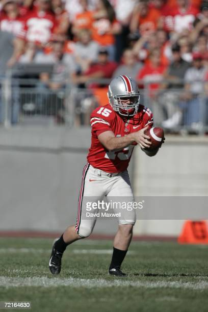 Punter AJ Trapasso of the Ohio State Buckeyes punts during the game against the Bowling Green Falcons at Ohio Stadium on October 7 2006 in Columbus...