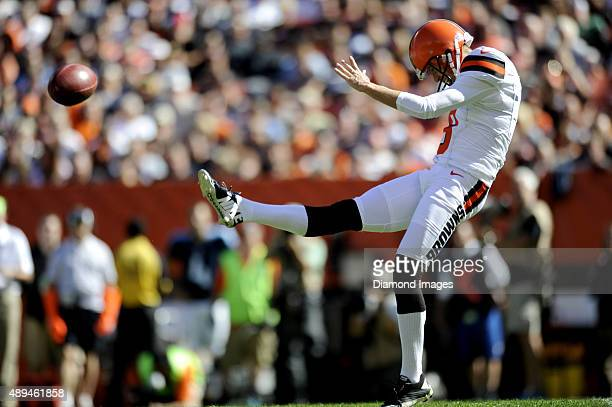 Punter Andy Lee of the Cleveland Browns punts the ball during a game against the Tennessee Titans on September 20 2015 at FirstEnergy Stadium in...