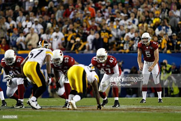 Punter Ben Graham of the Arizona Cardinals readies to take a snap on a punt attempt against the Pittsburgh Steelers during Super Bowl XLIII on...