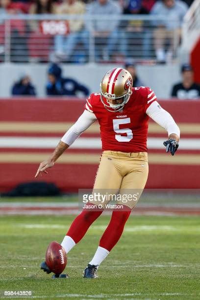 Punter Bradley Pinion of the San Francisco 49ers kicks off against the Tennessee Titans during the fourth quarter at Levi's Stadium on December 17...