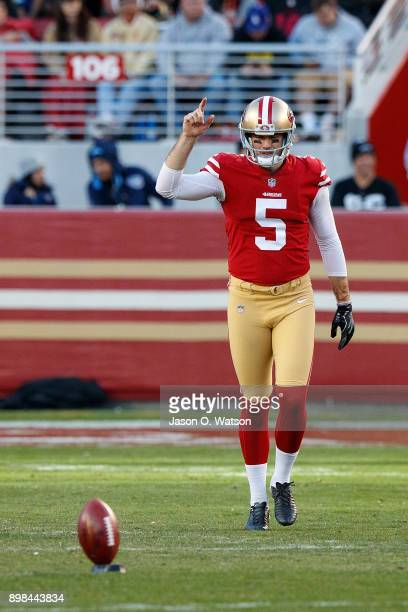 Punter Bradley Pinion of the San Francisco 49ers lines up to kick off against the Tennessee Titans during the fourth quarter at Levi's Stadium on...