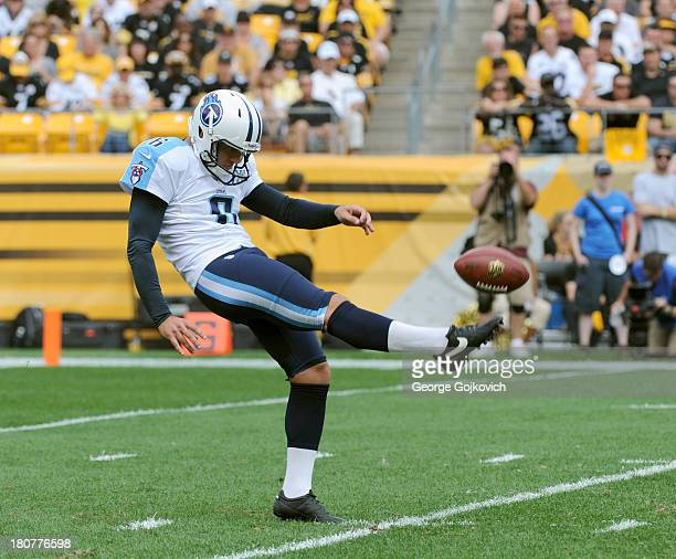 Punter Brett Kern of the Tennessee Titans punts during a game against the Pittsburgh Steelers at Heinz Field on September 8 2013 in Pittsburgh...