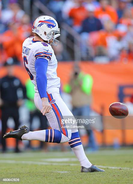 Punter Colton Schmidt of the Buffalo Bills in action against the Denver Broncos at Sports Authority Field Field at Mile High on December 7 2014 in...
